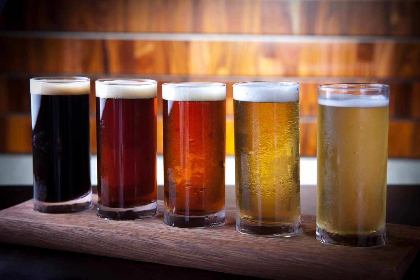 Amostras de cerveja.