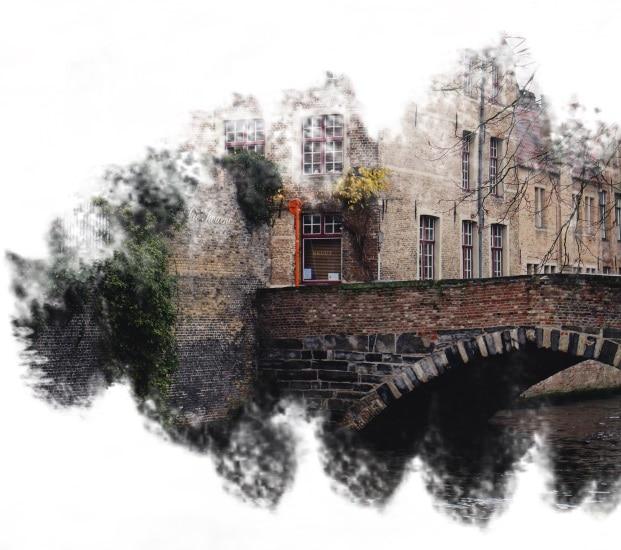 Um canal em Bruges, na Bélgica.