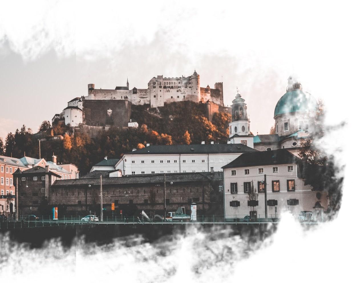 Castelo em Salzburg, na Áustria.
