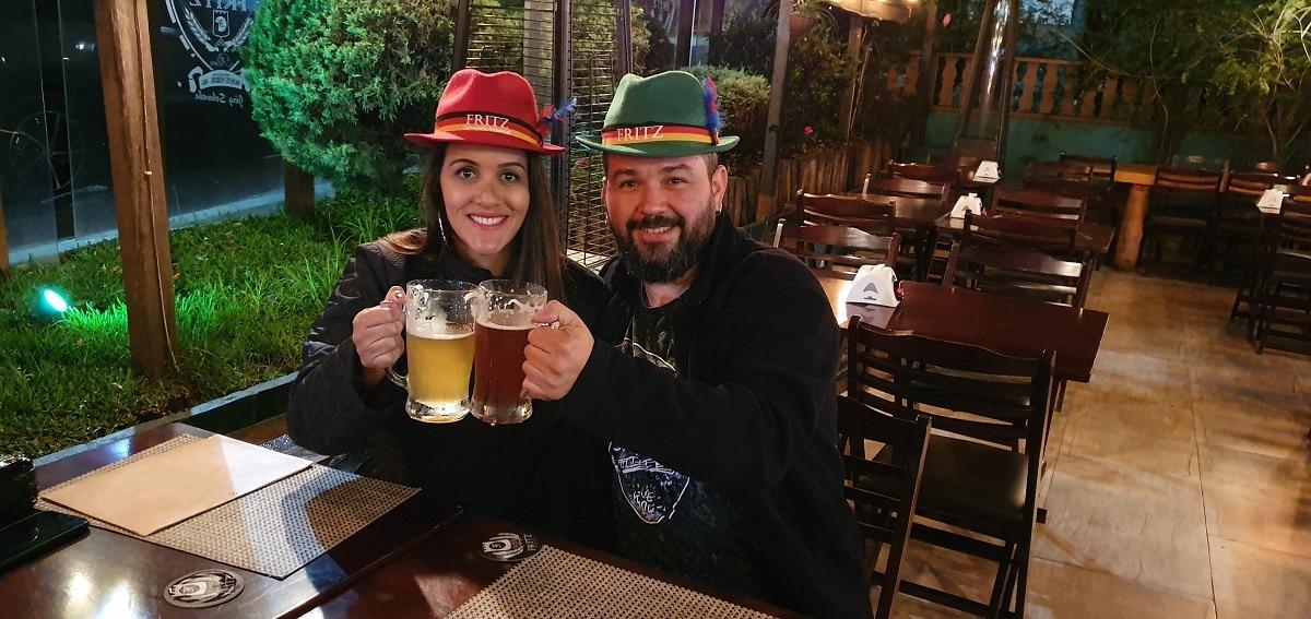 Na cervejaria Fritz em Monte Verde